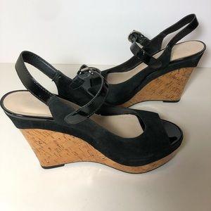 🎁 Franco Sarto wedge heels sandals black cork 8.5